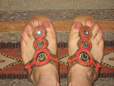 "White Mountain ""Bam"" Beaded Coral Sandals"