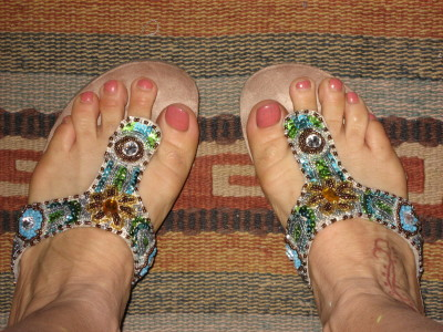 White Mountain Blue Beaded Sandals